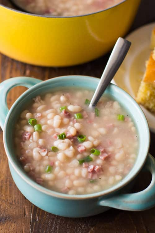 Old Fashioned Bean Soup Recipe - This easy navy bean soup with ham was a staple in my family! It's so warming and delicious!
