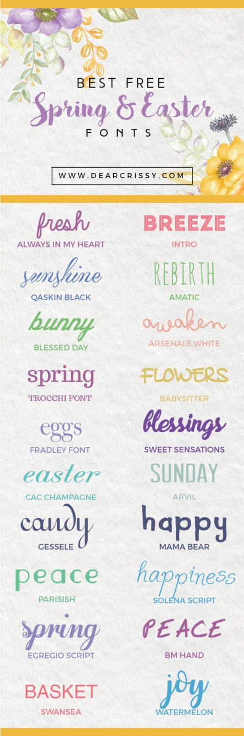 Free Easter Fonts + Free Spring Fonts for instant download. Loving these beautiful free fonts!