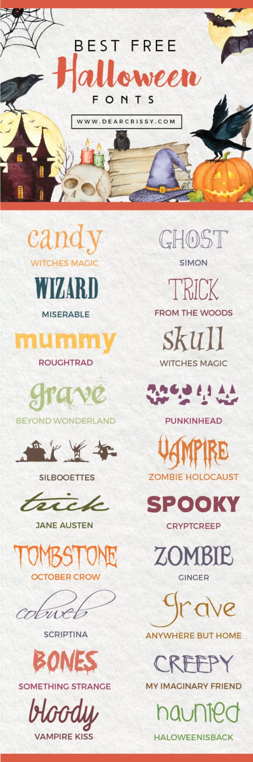 Best Free Halloween Fonts - Check out my collection of the best spooky, free Halloween fonts!