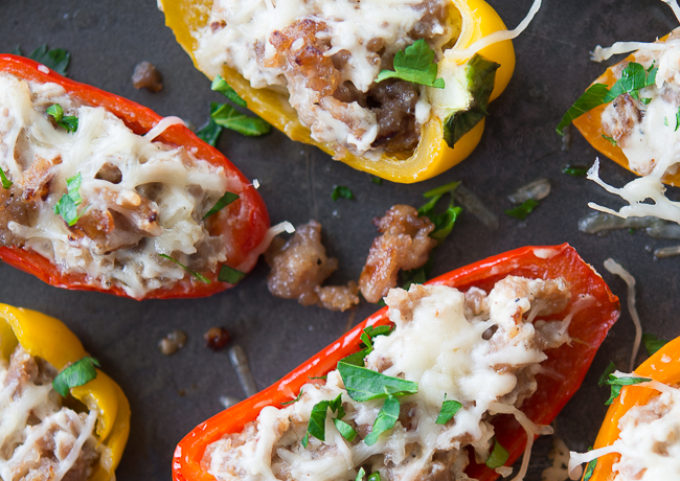 Sausage Stuffed Mini Sweet Peppers Appetizer Recipe - These stuffed mini sweet peppers are the perfect bite-size poppers are so delicious and so easy to make!