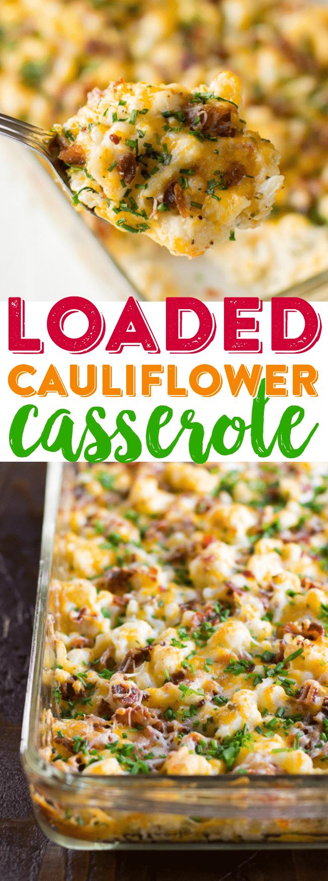Keto Low Carb Loaded Cauliflower Casserole Recipe | Cheesy Cauliflower Casserole | Baked Cauliflower Dinner | Easy Cauliflower Casserole #Keto #LowCarb