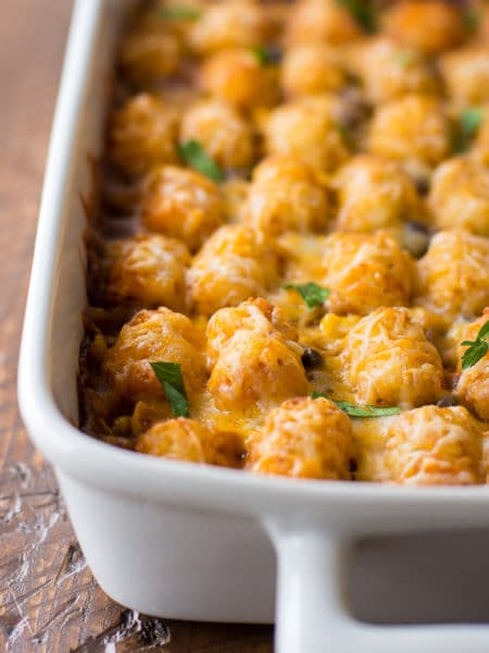 Mexican Tater Tot Casserole Recipe - This easy taco tater tot casserole is a great family dinner idea!