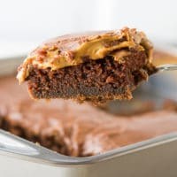 This is the best chocolate peanut butter cake recipe ever. So moist, delicious and easy!