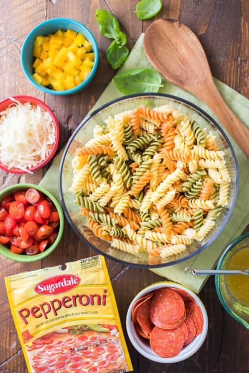Pepperoni Pasta Salad Recipe | Tri-Color Pasta Salad Recipe | Italian Pasta Salad | Rainbow Pasta Salad