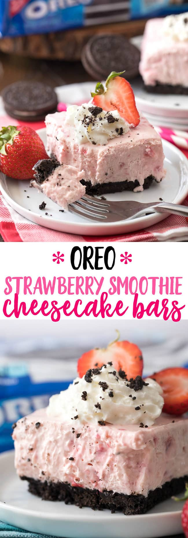 hese OREO Strawberry Smoothie Cheesecake Bars are easy, creamy and delicious!