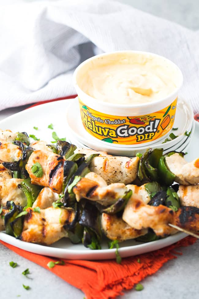 Easy Chicken Skewers with Jalapeño Cheddar dip - These easy kabobs are made special with this flavorful dip from Heluva Good!