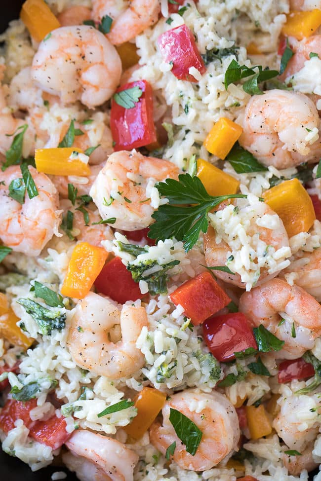 Easy One Pan Shrimp & Rice Dinner - this scrumptious skillet dinner is perfect for busy weeknights!