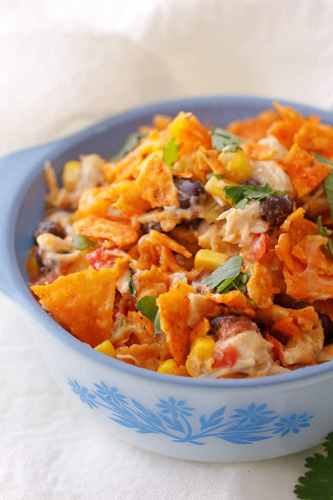 This tasty Doritos chicken casserole recipe is a delicious dinner time crowd-pleaser!
