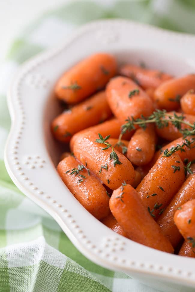 These cinnamon and brown sugar glazed carrots are the perfect holiday side dish.
