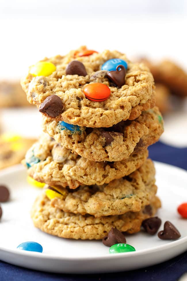 Easy Monster Cookies - monster cookie recipe is everyone's favorite chewy, chocolate-filled cookie!