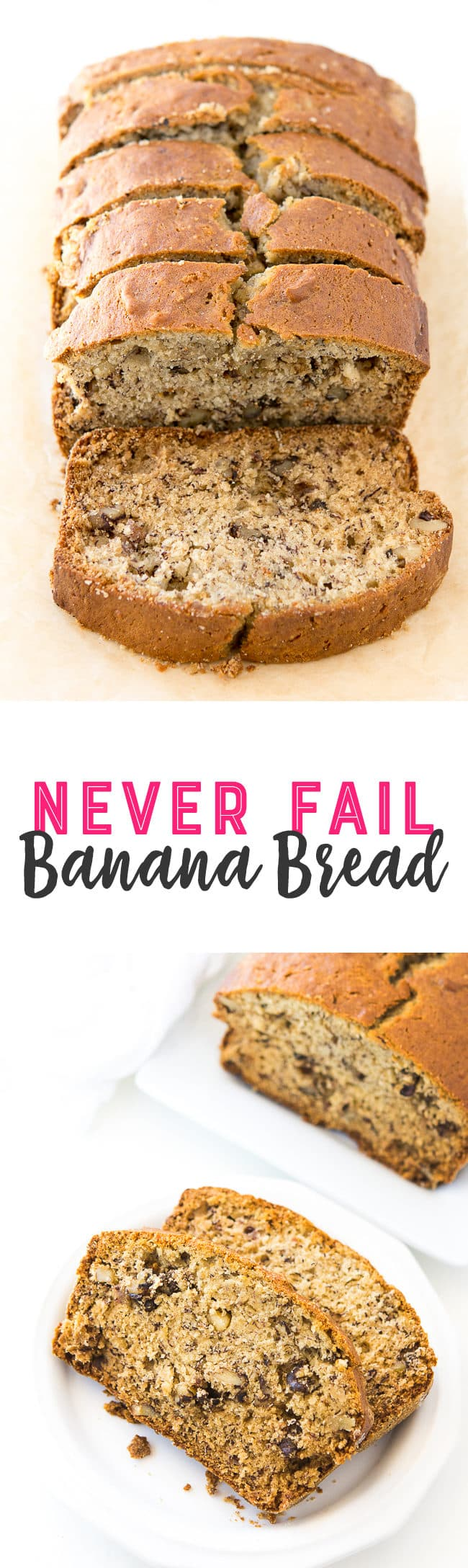 Never Fail Banana Nut Bread Recipe - This simple banana bread is moist and delicious.