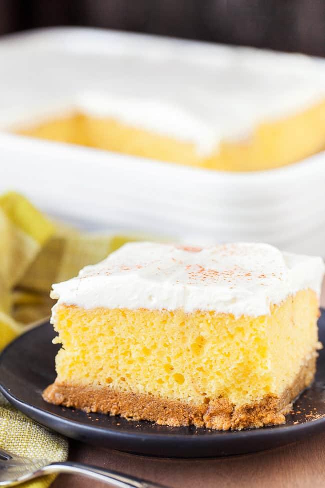 This pumpkin magic cake has three layers of delicious pumpkin flavor!