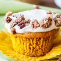 Spiced Pumpkin Cupcakes with Candied Pecans