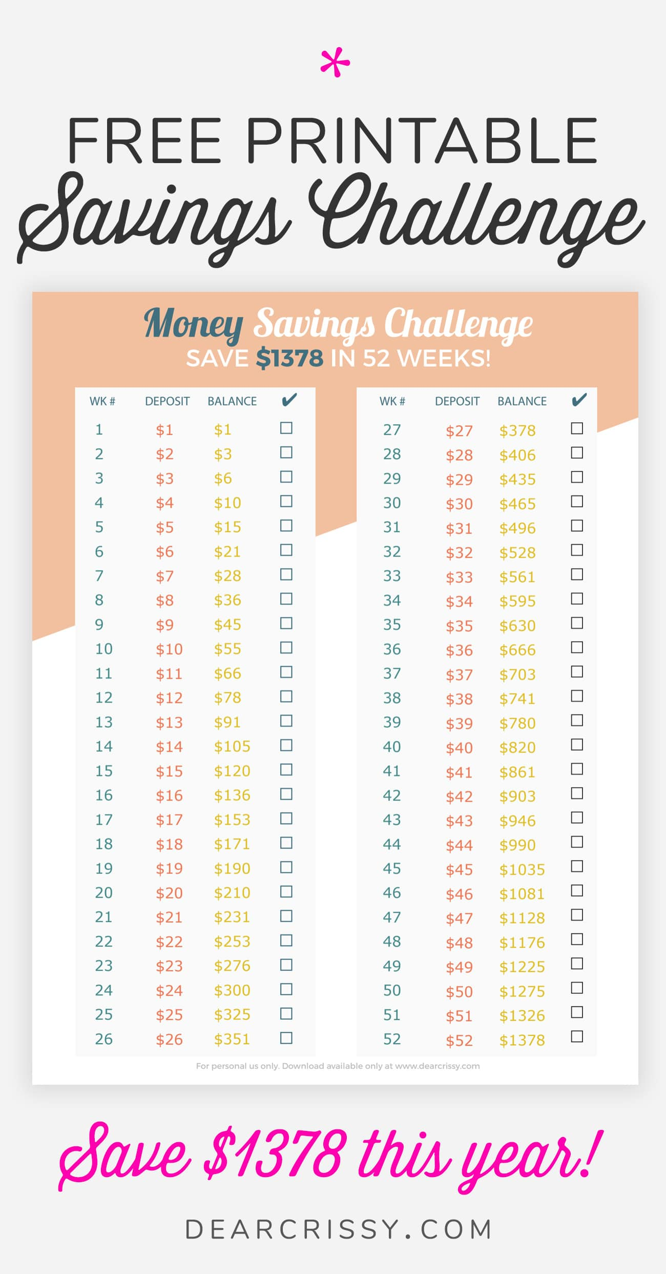 This is an image of Enterprising 52 Week Challenge Printable