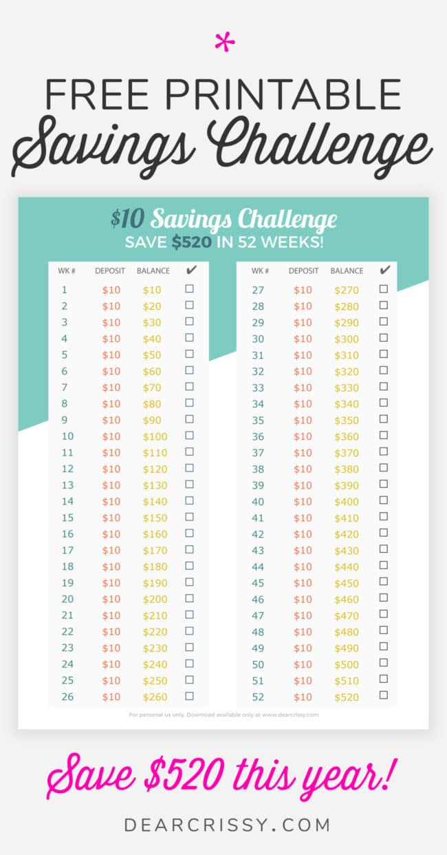 Free Printable $10 Savings Challenge - Save $520 in 52 Weeks! #Budgeting #FreePrintable #SavingsChallenge #Money