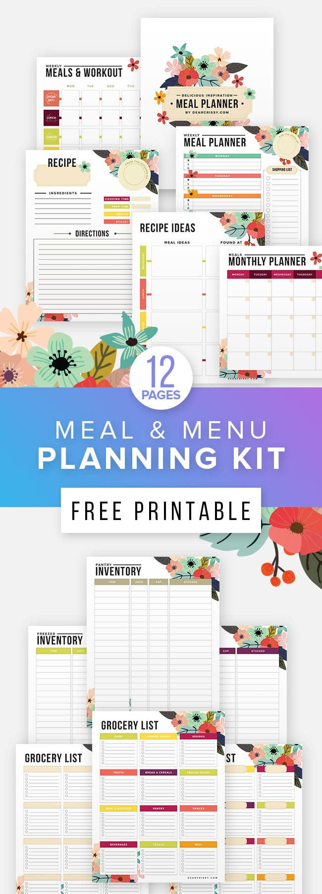 free printable meal fitness planner