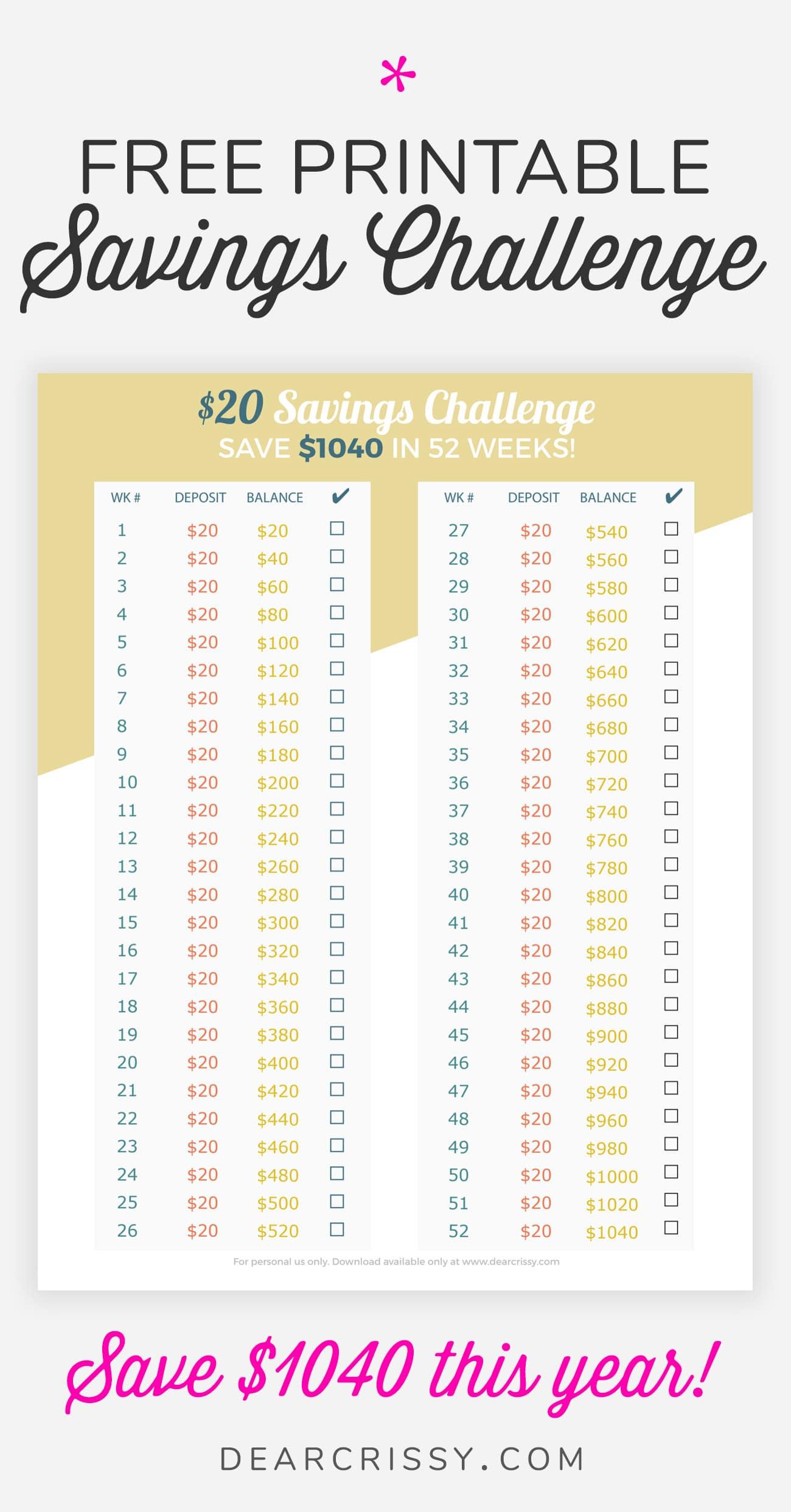 $20 Savings Challenge