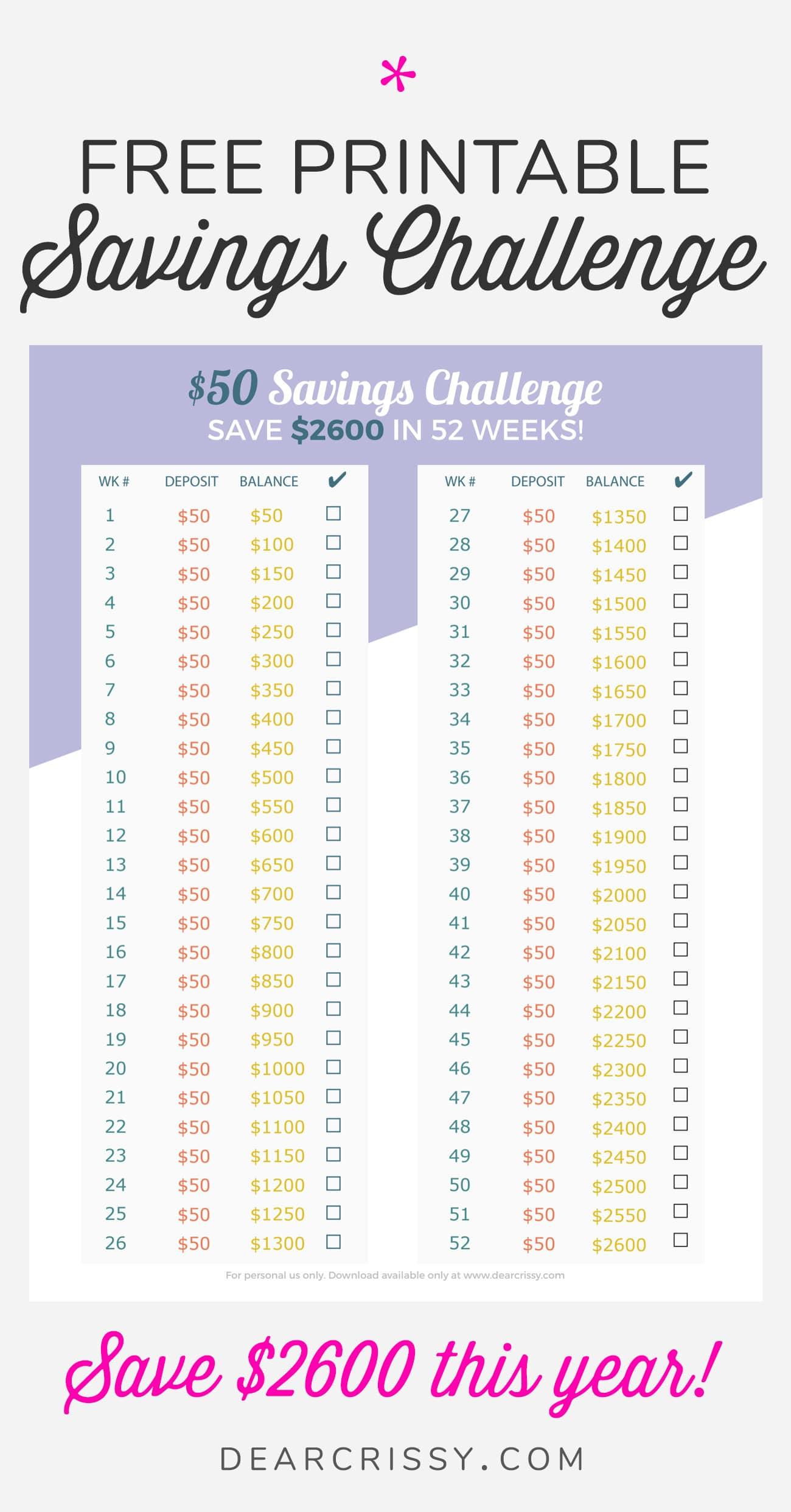 Free Printable $50 Money Savings Challenge - Save $2,600 This Year! #MoneySavings #Budget #Printable