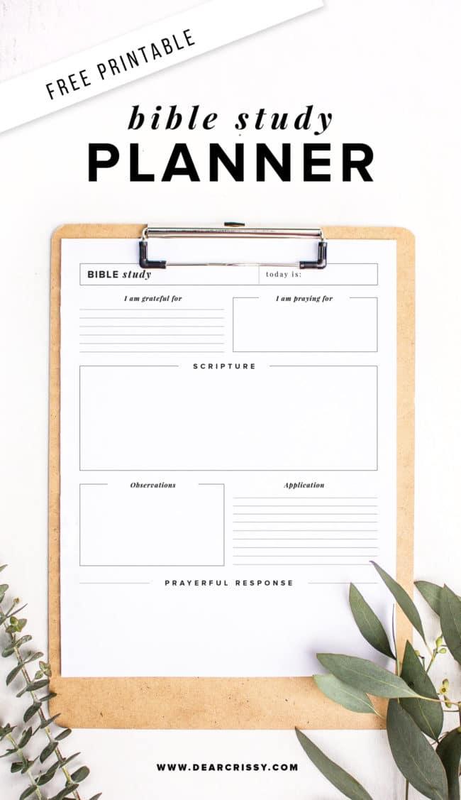 Free Printable Bible Study Planner - SOAP Method Bible ...