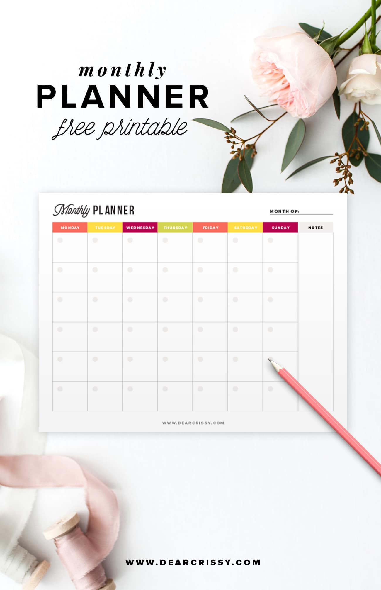 Organization Calendar Free : Free printable monthly planner start planning your month today