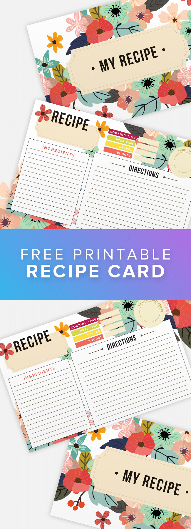 Free Printable Recipe Card - Use these beautiful free recipe cards to get organized!