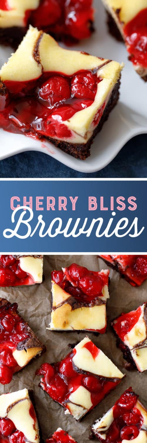 Cherry Bliss Brownies Recipe - these delightful brownies are swirled with cream cheese and cherry pie filling. #Brownies #Bars #CherryPie #CherryBlissBrownies #Dessert