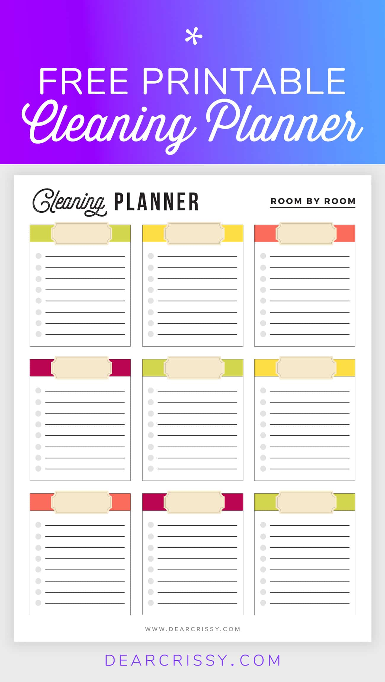 Free Printable Cleaning Planner - Cleaning Checklist - Cleaning Printable - Spring Cleaning #FreePrintable #Printable #Cleaning #Organization