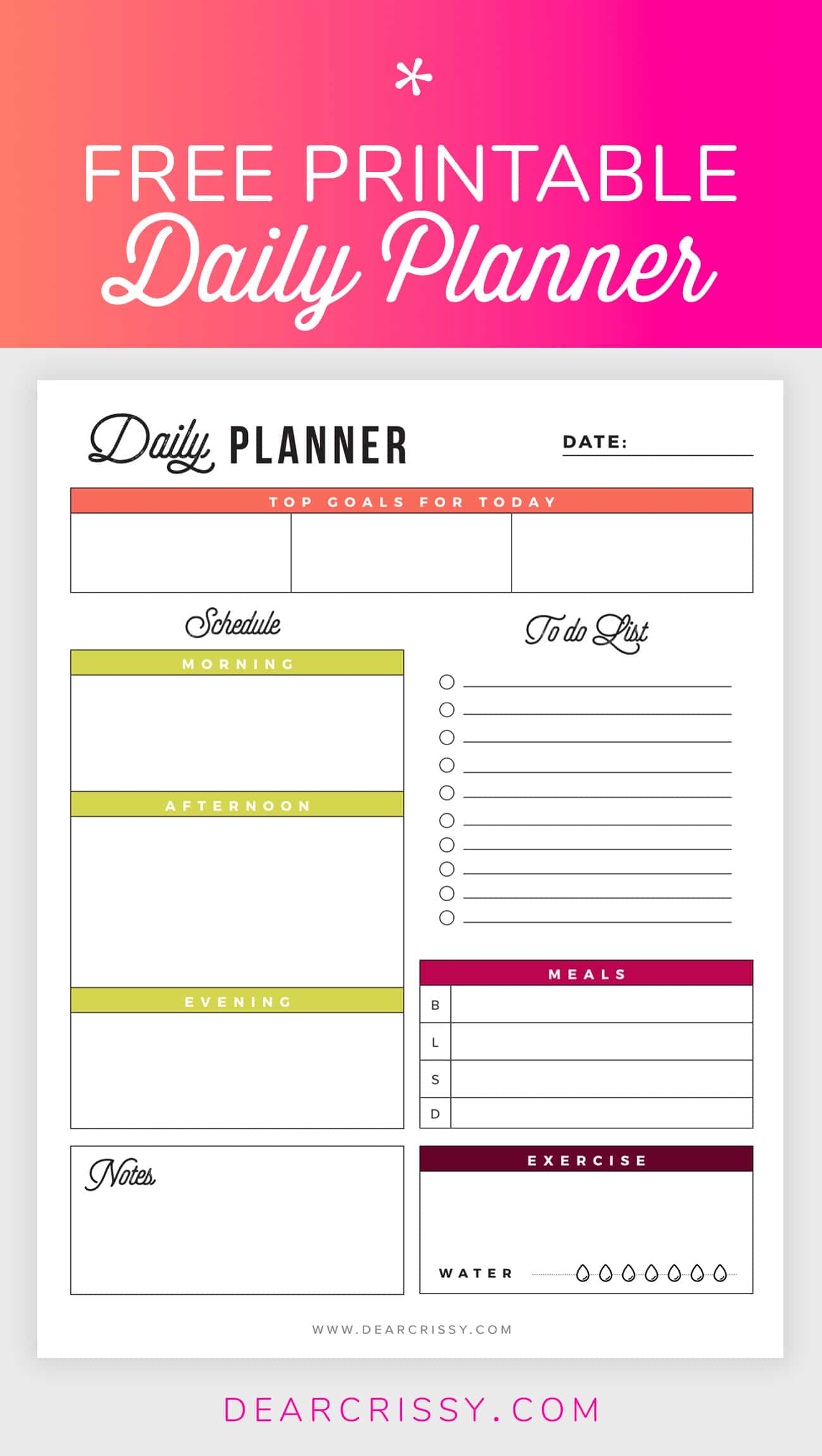 Free Printable Daily Planner Goals To Do Exercise Water Daily