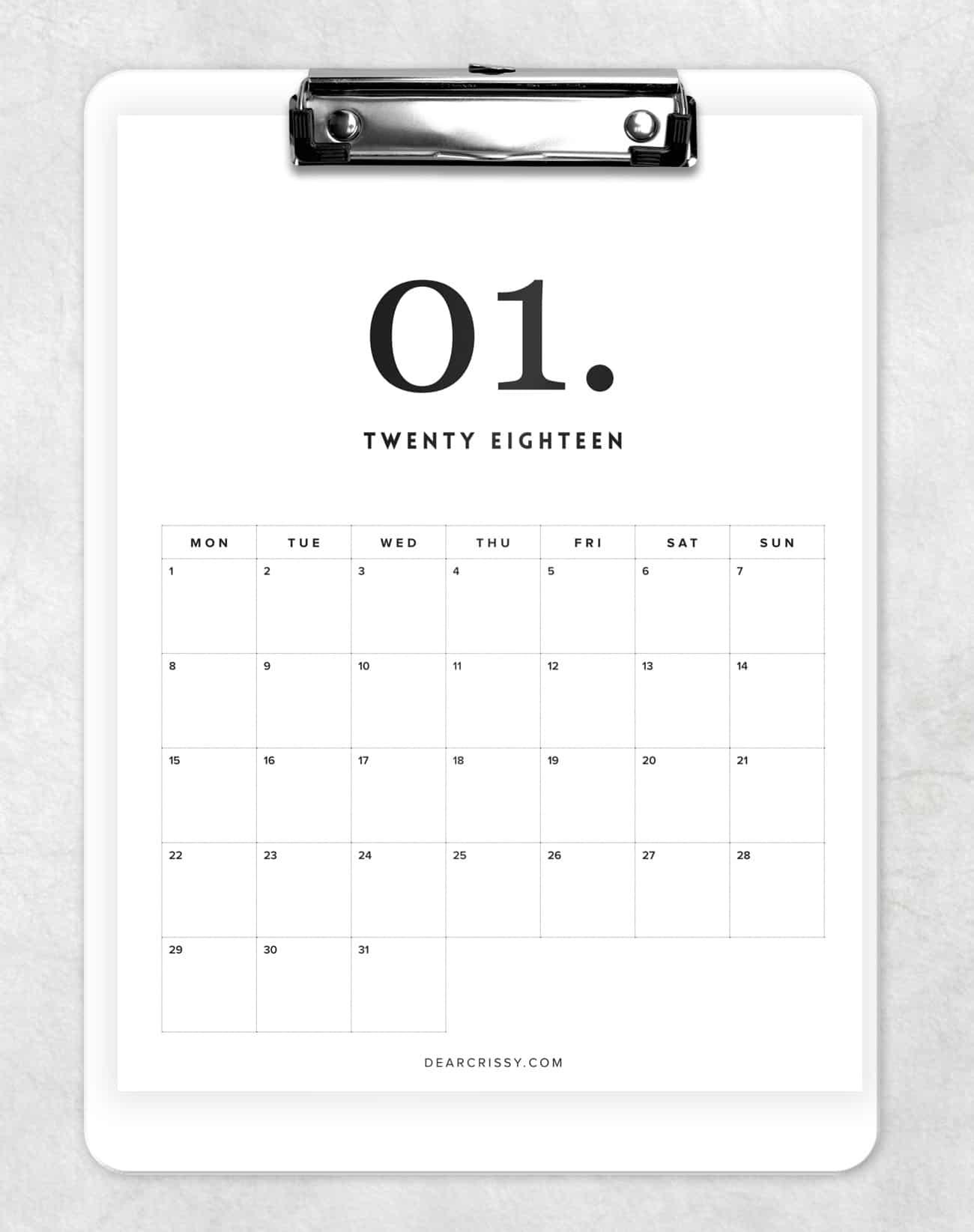 photograph relating to Calendar Printable called Totally free 2018 Minimum Calendar Printable - Impressive Calendar
