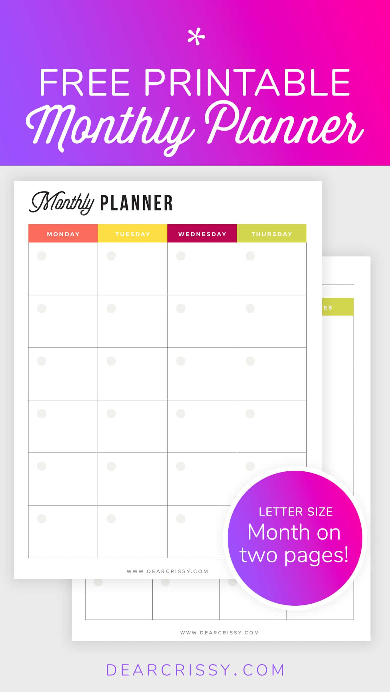 Free Printable Monthly Planner - Month-on-2-pages planner - MO2P planner - Letter size undated planner #Printable #Planner