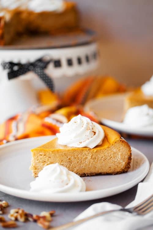 Pumpkin Cheesecake Recipe - This easy, creamy pumpkin cheesecake is a fall favorite.