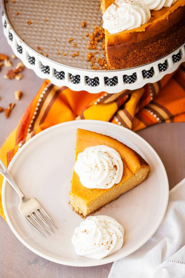 Pumpkin Cheesecake Recipe - This easy, creamy pumpkin cheesecake is a fall favorite.