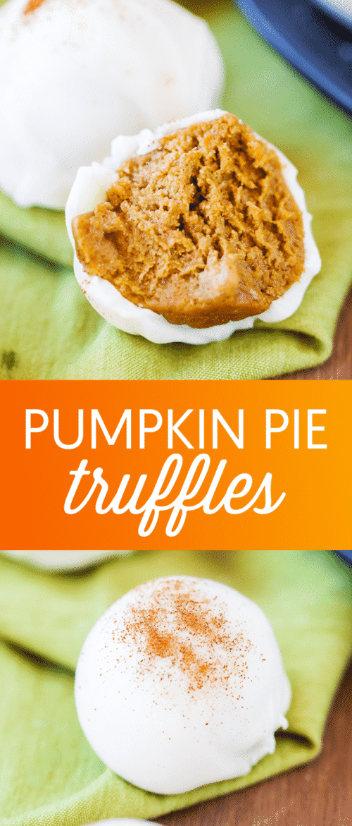 Pumpkin Pie Truffles - These easy pumpkin pie truffles are loaded with pumpkin spice flavor and dipped in yummy white chocolate.