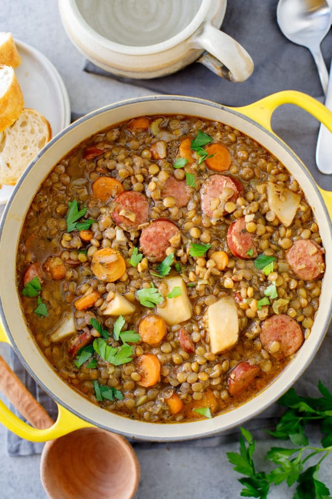 Rustic Lentil Stew - This warm, hearty lentil soup is simple to make using Hurst's Brand Lentils with Garlic & Herb Seasoning. #stew #soup #lentils