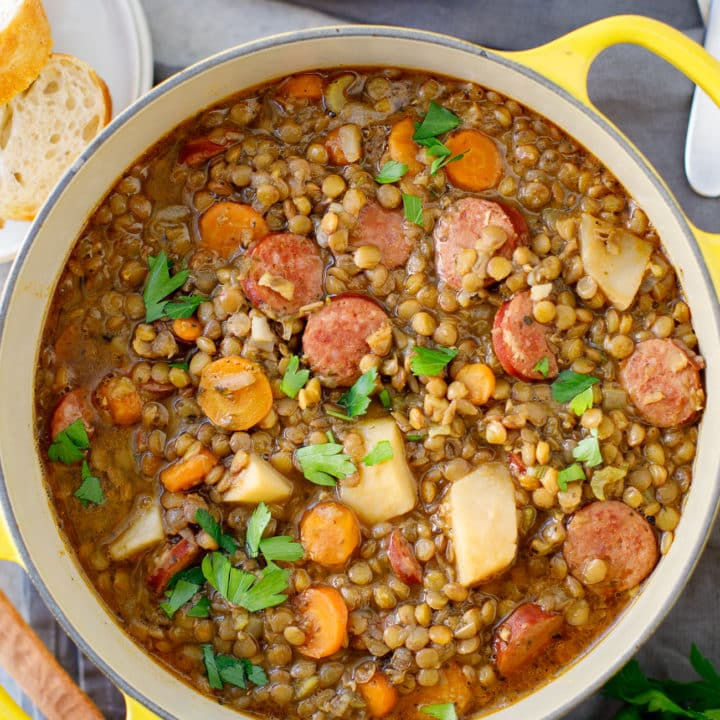 Rustic Lentil Stew - This warm, hearty lentil soup is simple to make using Hurst's Brand Lentils with Garlic and Herb Seasoning. #stew #soup #lentils