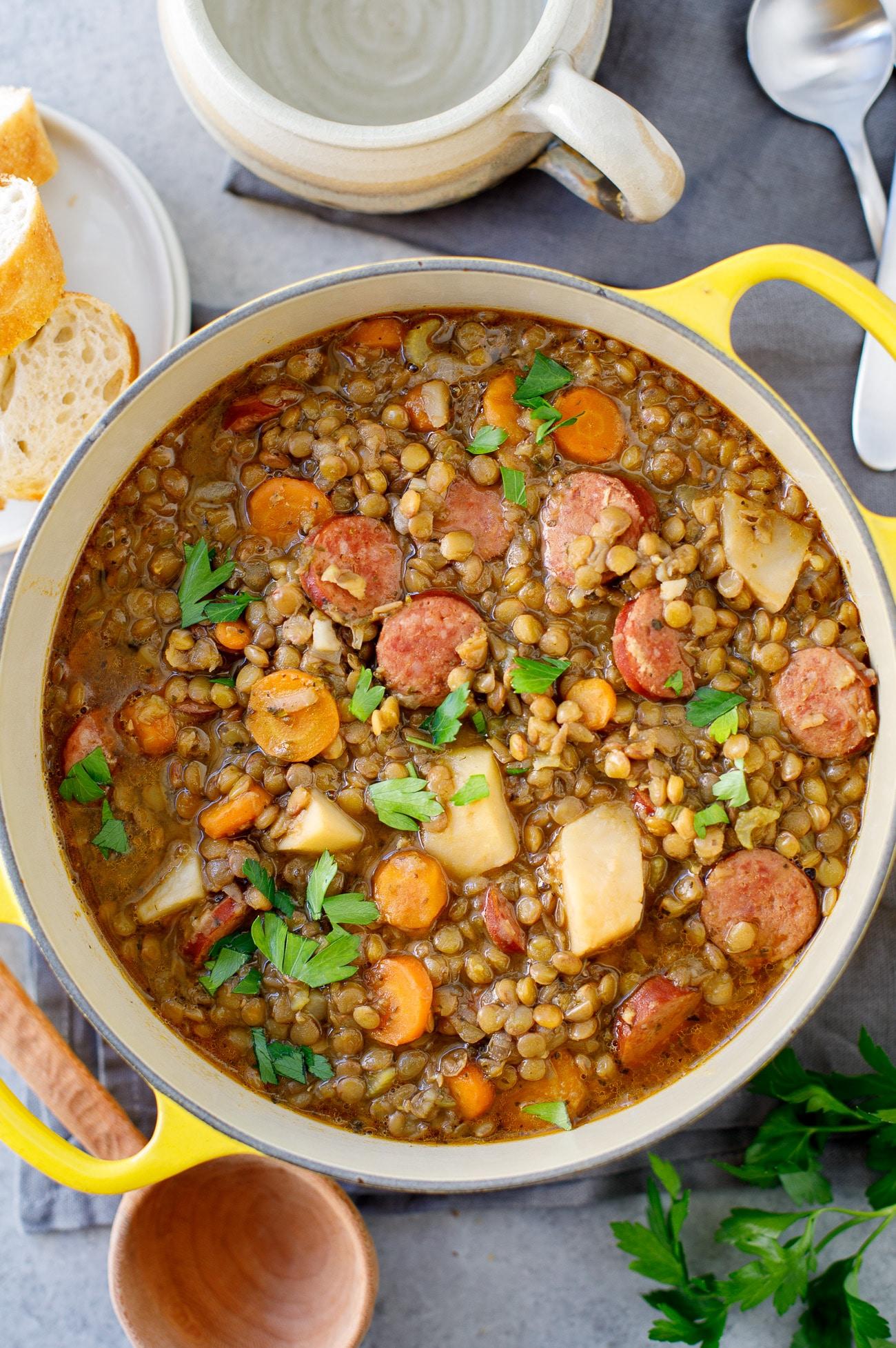 Rustic Lentil Stew Recipe - Lentil Soup with Kielbasa