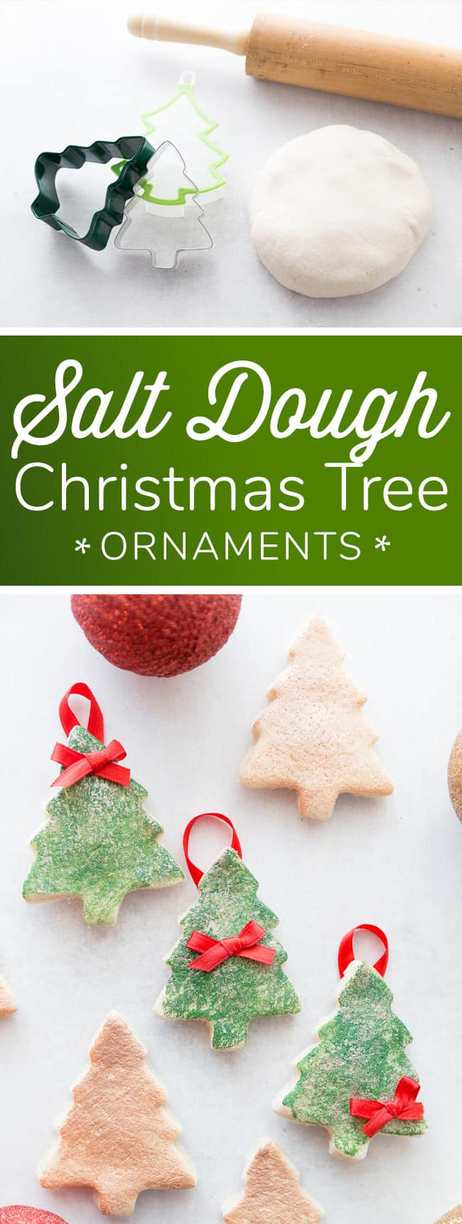 DIY Salt Dough Christmas Tree Ornament - easy and cute holiday ornaments - great for kids!
