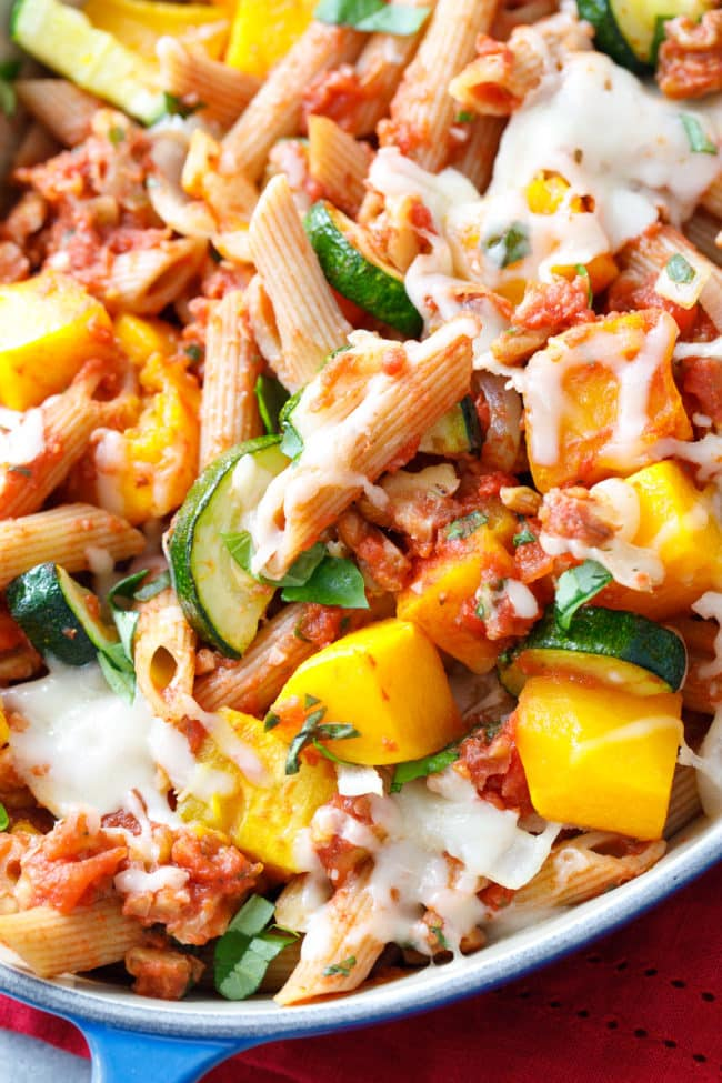 Veggie Baked Penne with Walnut Sauce - delicious pasta and vegetable casserole with heart healthy walnut sauce! #CleanEating #Healthy