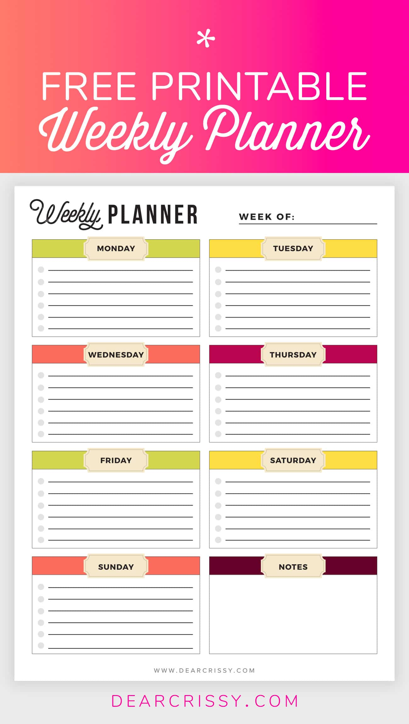 image relating to Free Printable Planners referred to as Cost-free Printable Weekly Planner - Weekly Planner Printable!