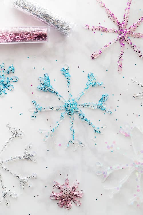 DIY Glitter Glue Snowflake Ornaments - Easy hot glue and glitter ornaments for your Christmas Tree!