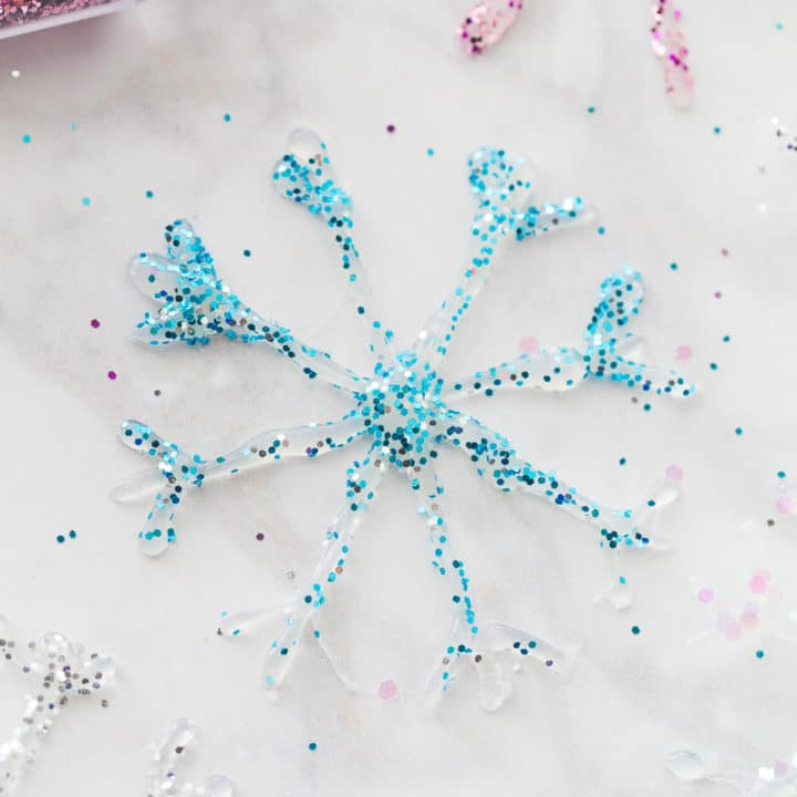 DIY Glitter Glue Snowflake Ornaments