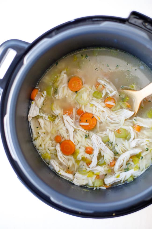 Pressure Cooker Chicken Orzo Soup Recipe - This easy and delicious chicken orzo soup is a wonderfully healing and comforting family dinner. #PressureCooker #CrockPot #ChickenOrzoSoup