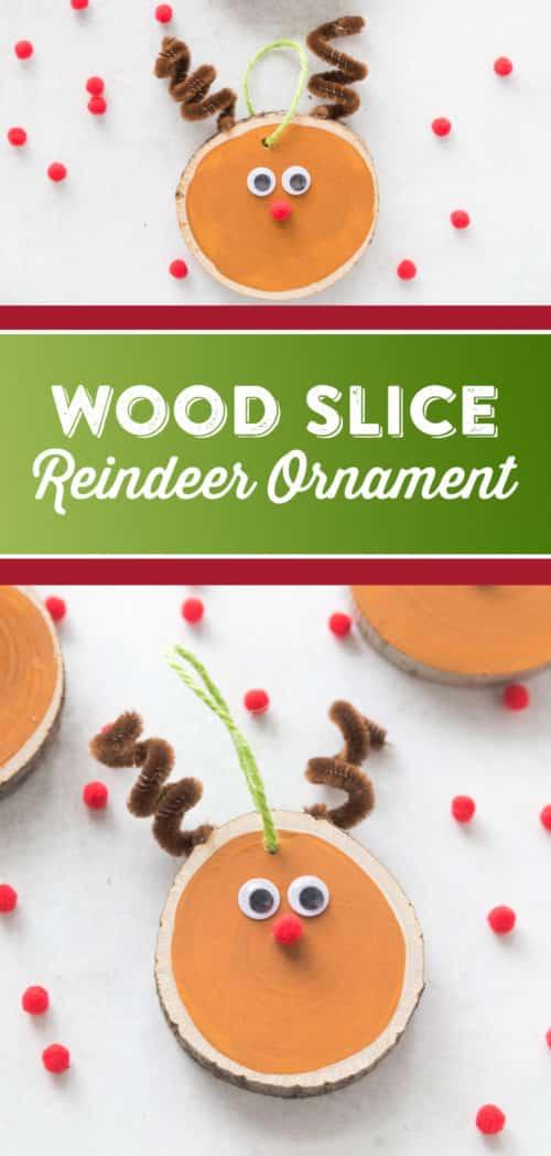 DIY Wood Slice Reindeer Ornament Craft - Easy Christmas Tree Ornament