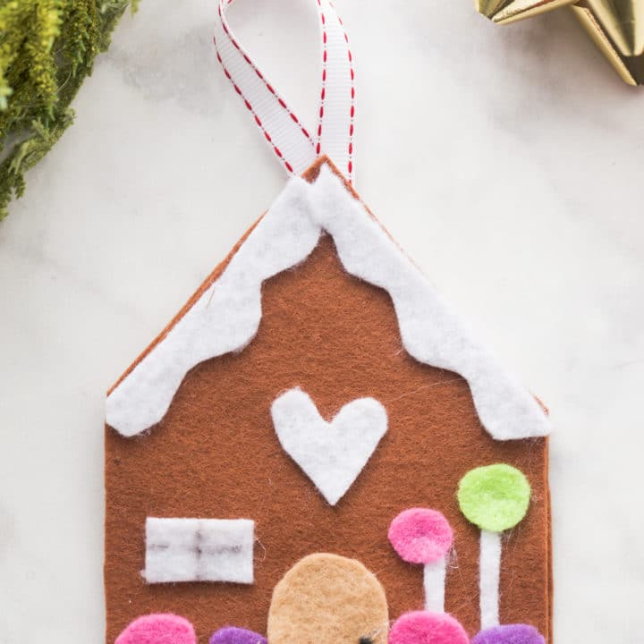 DIY Felt Gingerbread House Christmas Ornament