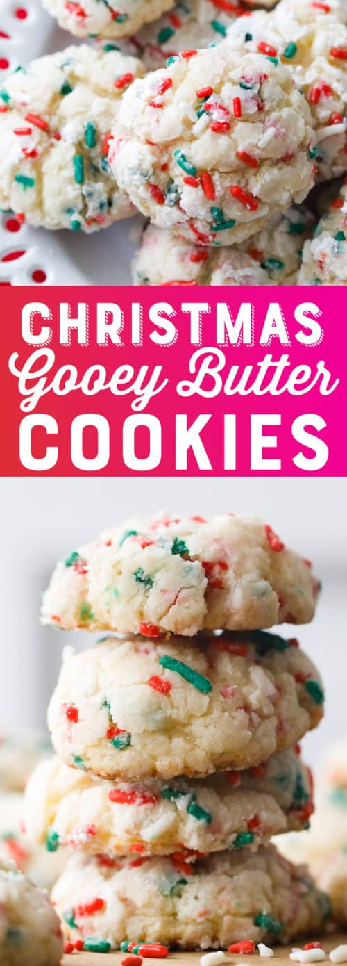 Christmas Gooey Butter Cookies Recipe - Easy Christmas Cookies - Cake Mix Cookies - Gooey Butter Recipe #ChristmasCookies #Christmas #Holiday #Cookies