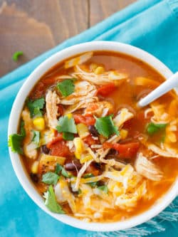 Instant Pot Chicken Taco Soup Recipe - This delicious pressure cooker recipe is delicious and easy to make! #InstantPot #PressureCooker #EasyMeal #TacoSoup