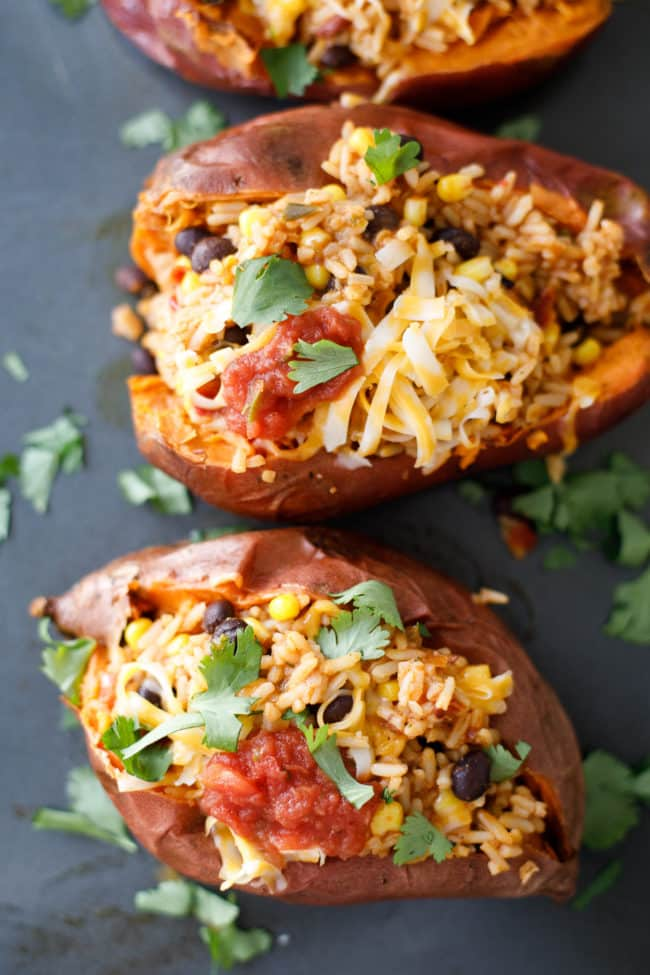 Stuffed Sweet Potatoes with Rice, Corn and Black Beans Recipe - #SweetPotatoes #StuffedSweetPotatoes