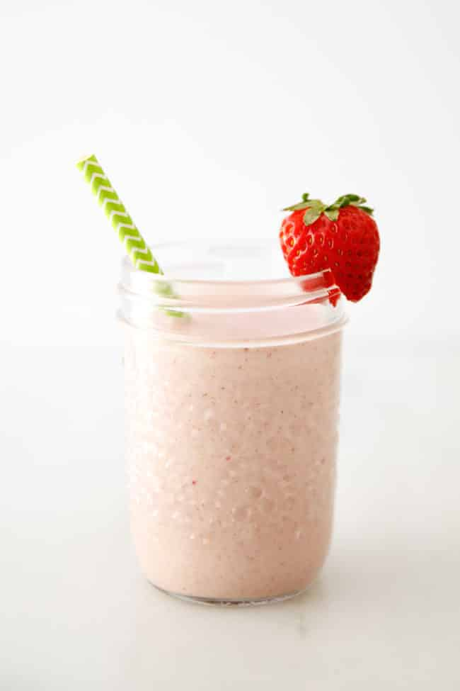 Strawberry Almond Butter Kids Breakfast Smoothie
