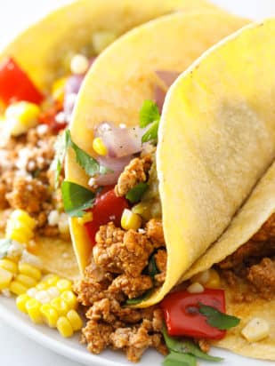 Ground Pork Tacos with Roasted Vegetables