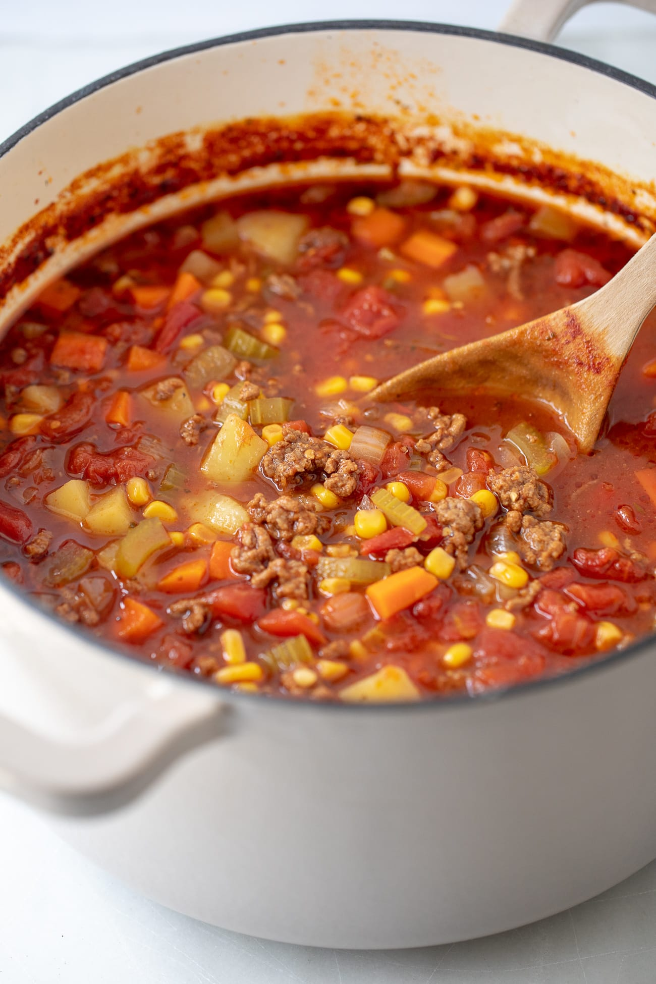Hamburger Soup Recipe - This tasty ground beef vegetable soup is loaded with potatoes, meat, and veggies in a savory broth.